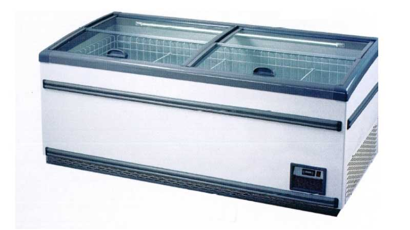 Defrost Island Freezer Glass Top 630L